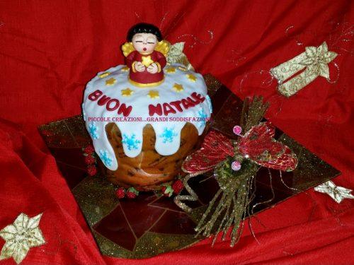 Panettone con cake topper angelo Thun natalizio