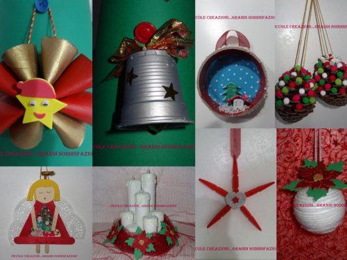 Raccolta di addobbi natalizi con materiali di riciclo