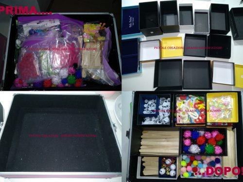 Organizer per cassetti con scatoline riciclate