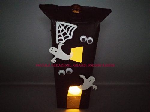 Lanterna di Halloween con cartone del latte