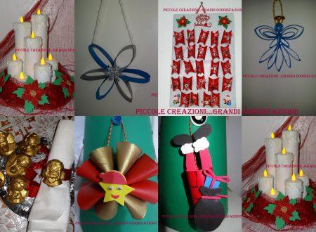 Raccolta di addobbi natalizi con i rotoli di carta