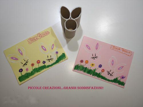 Timbro coniglietto di Pasqua con rotoli di carta igienica