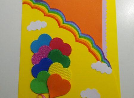 Biglietto di auguri con palloncini di cuoricini