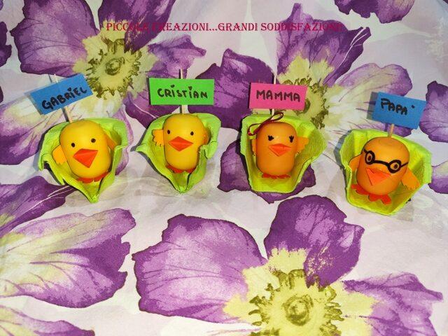 Segnaposto di Pasqua con ovetti-sorprese uova kinder