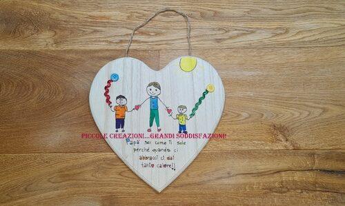 Quadretto di legno disegnato dai bambini